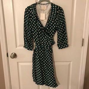 Kate Spade Emerald Green Polka Dot Wrap Dress NWT